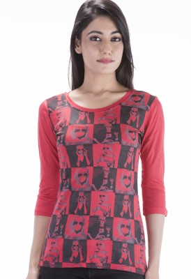 Peppermint Blues Printed Women,s Round Neck T-Shirt