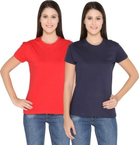 Ten On Ten Solid Women's Round Neck Red, Blue T-Shirt Pack Of 2