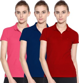 Polo Nation Solid Women's Polo Neck Red, Blue, Pink T-Shirt Pack Of 3