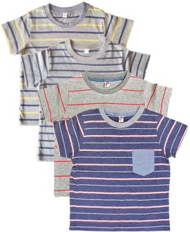 Orange And Orchid Striped Boy's Round Neck T-Shirt Pack Of 4