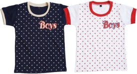 Be 13 Printed Boy's Round Neck Dark Blue, White T-Shirt Pack Of 2