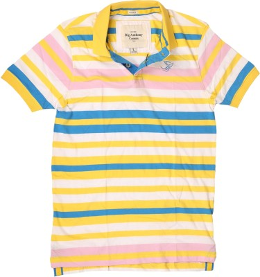 Rig Anthony Striped Men's Flap Collar Neck T-Shirt
