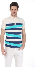 Basics Striped Men's Polo Neck Beige T-Shirt