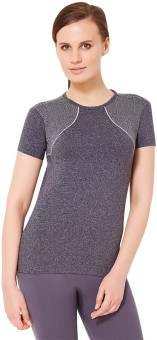 Amante Solid Women's Round Neck Black T-Shirt