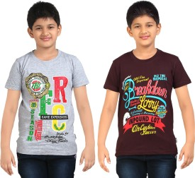 Dongli Printed Boy's Round Neck Brown, Silver T-Shirt Pack Of 2