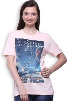 Go India Store Printed Women's Round Neck Orange T-Shirt