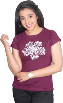 Threadz Printed Women's Round Neck T-Shirt - TSHE697RCPWZZ7ZC