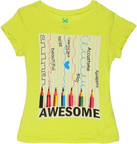 Poppers By Pantaloons Printed Girl's Round Neck Yellow T-Shirt