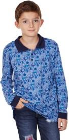 Aristot Animal Print Boy's Polo Neck Blue T-Shirt