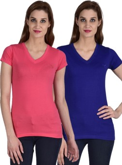 Youthen Solid Women's V-neck Blue, Pink T-Shirt Pack Of 2