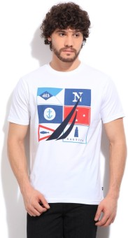 Nautica Printed Men's White T-Shirt