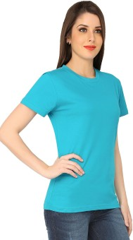 The Cotton Company Solid Women's Round Neck Blue T-Shirt