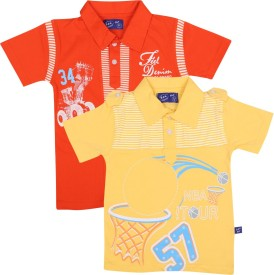 SPN Garments Printed Boy's Polo Neck Orange, Yellow T-Shirt