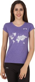 Arcley Solid, Printed Girl's Round Neck Purple T-Shirt