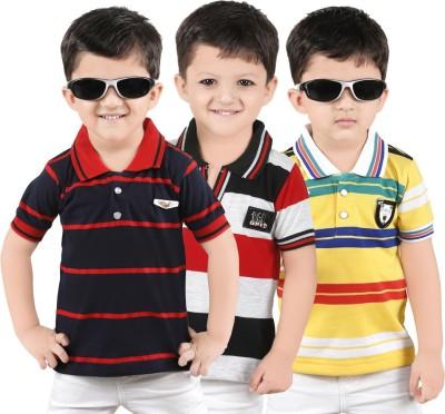 Yellow Dots Striped Boy's Polo Neck T-Shirt