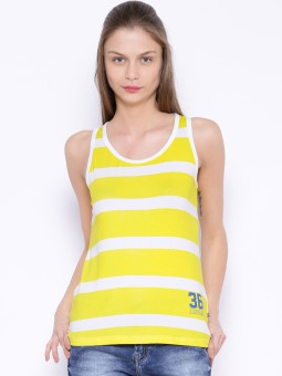 Harvard Striped Women's Round Neck Yellow, White T-Shirt