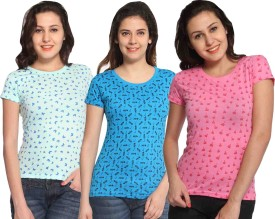 Maatra Printed Women's Round Neck Light Blue, Green, Pink T-Shirt Pack Of 3