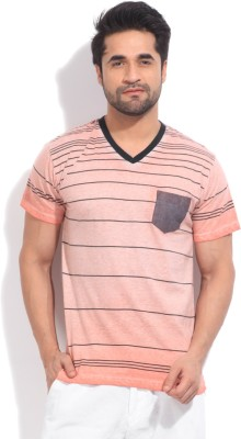 Indicode Striped Men's V-neck T-Shirt