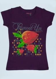 MIRICHI Graphic Print Women's Round Neck Purple T-Shirt