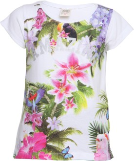 Tales & Stories Floral Print Girl's Round Neck T-Shirt
