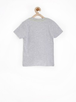Sela Printed Boy's Round Neck Grey T-Shirt