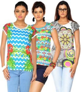 Jazzup Printed Women's Round Neck T-Shirt Pack Of 3 - TSHE8ESQDMSKPDZT