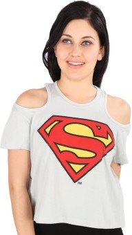 Planet Superheroes Graphic Print Women's Off-shoulder T-Shirt