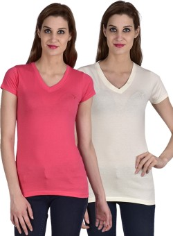 Youthen Solid Women's V-neck White, Pink T-Shirt Pack Of 2