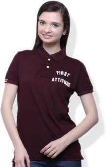 GOINDIASTORE Solid Women's Polo Brown T-Shirt