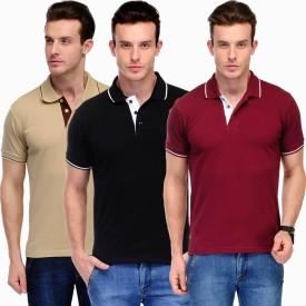 Scott International Solid Men's Polo Brown, Black, Maroon, White T-Shirt Pack Of 3