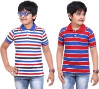 Dongli Striped Baby Boy's Polo Neck Dark Blue, Red T-Shirt (Pack Of 2)