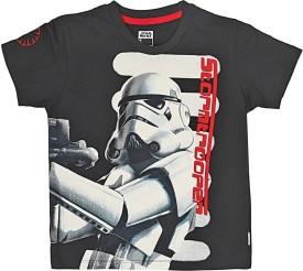 Star Wars Printed Boy's Round Neck Black T-Shirt
