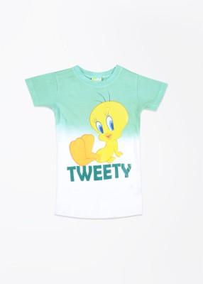 Tweety Tweety Printed Girl's Round Neck T-Shirt (Multicolor)