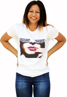 MAGA Printed Women's, Girl's Round Neck White T-Shirt