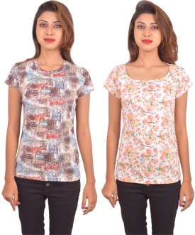 Blueash Geometric Print, Floral Print Women's Round Neck, Boat Neck Multicolor, Multicolor T-Shirt Pack Of 2