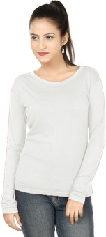 99 Affair Solid Women's Round Neck White T-Shirt