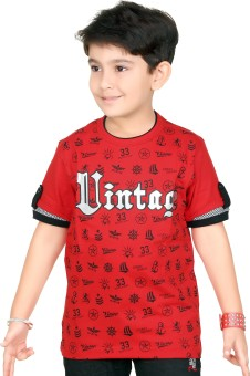 Triki Printed Boy's Round Neck Red T-Shirt