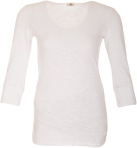 A33 Store Cotton 3/4 Sleeve White Solid Women's Round Neck T-Shirt