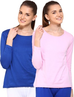 Ap'pulse Solid Women's Round Neck Blue, Pink T-Shirt Pack Of 2