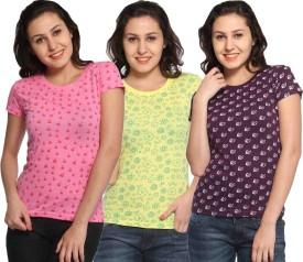 Maatra Printed Women's Round Neck Pink, Yellow, Brown T-Shirt Pack Of 3