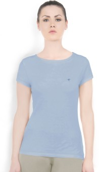 Do U Speak Green Solid Women's Round Neck Blue T-Shirt