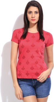 STYLE QUOTIENT BY NOI Printed Women's Round Neck Pink T-Shirt - TSHEGS6FV4FP2UU9