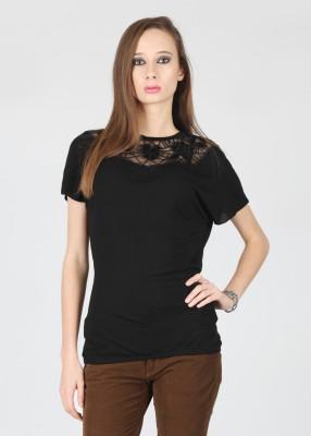 Flying Machine Solid Women's Round Neck T-Shirt