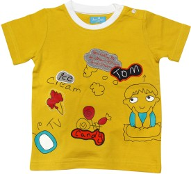 JusCubs Solid Baby Boy's Round Neck Yellow T-Shirt