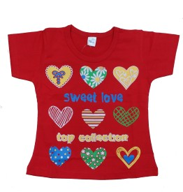 Kandyfloss Self Design Girl's Round Neck Red T-Shirt