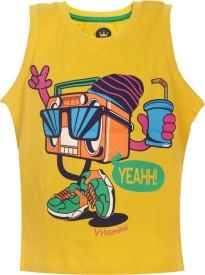 Vitamins Graphic Print Baby Boy's Round Neck Yellow T-Shirt