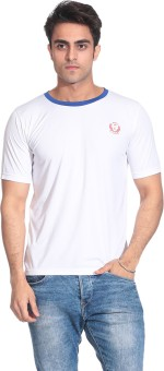 D Vogue London 010 Blue White Solid Men's Round Neck T-Shirt