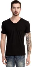 Mimoda Solid Men's V-neck Black T-Shirt