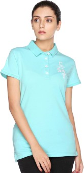CLUB YORK Embroidered Women's Polo Neck Light Blue T-Shirt