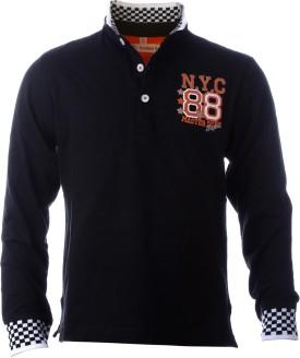 LUMBER BOY Printed Boy's V-neck Black T-Shirt